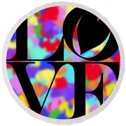 Rainbow Love In Black Round Beach Towel by Kasia Bitner