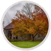 Rainbow Of Color In Front Of Nh Barn Round Beach Towel by Jeff Folger