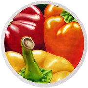Rainbow Of Peppers Round Beach Towel