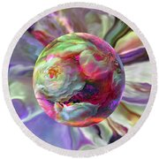 Round Beach Towel featuring the painting Rainbow Of Roses by Robin Moline