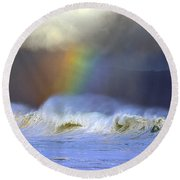Rainbow On The Banzai Pipeline At The North Shore Of Oahu Round Beach Towel