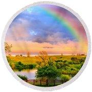 Rainbow Over Countryside Round Beach Towel