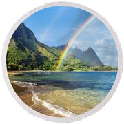 Rainbow Over Haena Beach Round Beach Towel