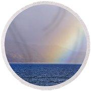 Rainbow Over Oban Bay Round Beach Towel