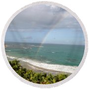 Round Beach Towel featuring the photograph Rainbow Over Palms by The Art of Alice Terrill