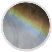 Round Beach Towel featuring the photograph Rainbow Over The Falls by Laurel Powell