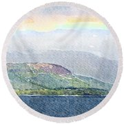 Rainbow Over The Isle Of Arran Round Beach Towel by Liz Leyden