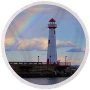 Rainbow Over Watwatam Light Round Beach Towel