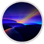 Round Beach Towel featuring the digital art Rainbow Pathway by GJ Blackman