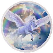 Rainbow Pegasus Round Beach Towel