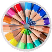 Rainbow Pencils Round Beach Towel