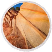 Rainbow Rocks Striations Round Beach Towel