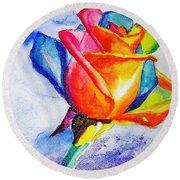 Rainbow Rose Round Beach Towel by Carlin Blahnik