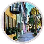 Rainbow Row Hdr Round Beach Towel