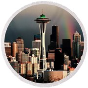 Rainbow Seattle Panorama Round Beach Towel by Benjamin Yeager