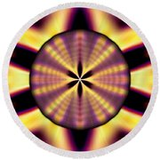 Round Beach Towel featuring the drawing Rainbow Seed Of Life by Derek Gedney