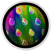 Round Beach Towel featuring the digital art Rainbow Showers Baseball Square by Andee Design