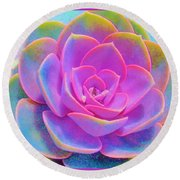 Rainbow Succulent Round Beach Towel