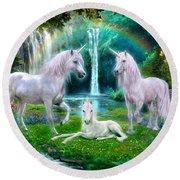 Rainbow Unicorn Family Round Beach Towel