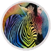 Rainbow Zebra Round Beach Towel