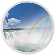 Rainbows At Niagara Falls Round Beach Towel