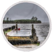 Round Beach Towel featuring the photograph Rained Out by Charlotte Schafer