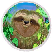 Rainforest Sloth Round Beach Towel