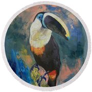 Rainforest Toucan Round Beach Towel by Michael Creese