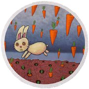 Raining Carrots Round Beach Towel by James W Johnson