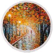 Round Beach Towel featuring the painting Rainy Autumn Day Palette Knife Original by Georgeta  Blanaru