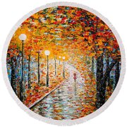 Round Beach Towel featuring the painting Rainy Autumn Day Palette Knife Original by Georgeta  Blanaru