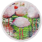 Rainy Day Flamingos 2 Round Beach Towel