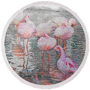 Rainy Day Flamingos Round Beach Towel