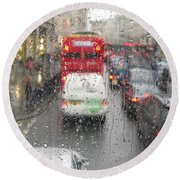 Round Beach Towel featuring the photograph Rainy Day London Traffic by Ann Horn