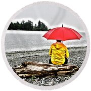Rainy Day Meditation Round Beach Towel