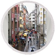 Round Beach Towel featuring the photograph Rainy Day Shopping by Ann Horn