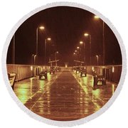 Rainy Night On The Pier Round Beach Towel