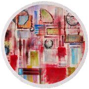 Rainy Panes Round Beach Towel