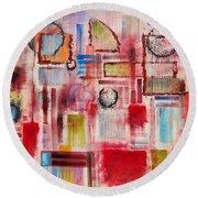 Round Beach Towel featuring the painting Rainy Panes by Jason Williamson