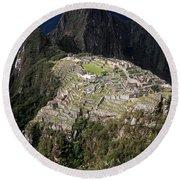 Rainy Season At Machu Picchu Round Beach Towel