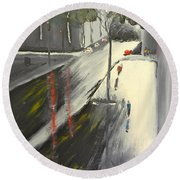 Round Beach Towel featuring the painting Rainy Street In Melbourne by Pamela  Meredith