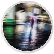 Round Beach Towel featuring the photograph Rainy Streets by Alex Lapidus