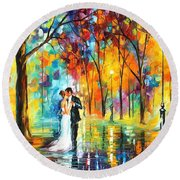 Rainy Wedding - Palette Knife Oil Painting On Canvas By Leonid Afremov Round Beach Towel
