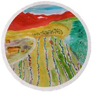 Raising Tomatoes On North Point Round Beach Towel by Mary Carol Williams