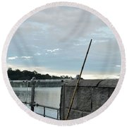 Round Beach Towel featuring the photograph Rake Rests Itself After A Hard Days Work by Imran Ahmed