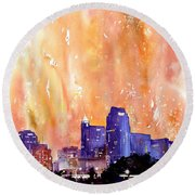 Raligh Skyline Sunset Round Beach Towel