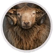 Ram Portrait Round Beach Towel