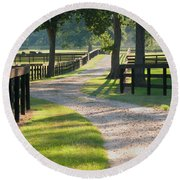Round Beach Towel featuring the photograph Ranch Road In Texas by Connie Fox