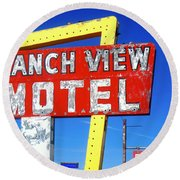 Ranch View Motel Round Beach Towel