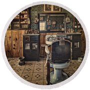 Randsburg Barber Shop Interior Round Beach Towel